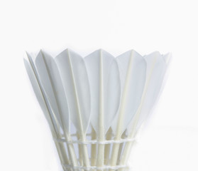 White Feather Shuttlecocks Badminton isolated on white