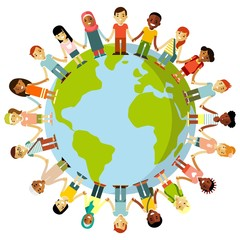 Unity of kids and planet Earth concept