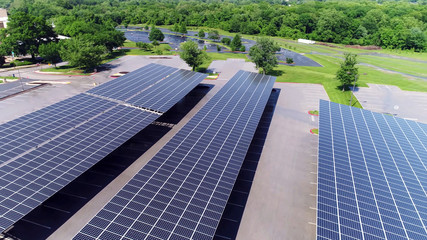 solar power, car station, Aerial view of solar paneled covered parking roofs