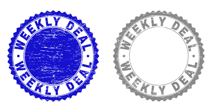 Grunge WEEKLY DEAL stamp seals isolated on a white background. Rosette seals with grunge texture in blue and grey colors. Vector rubber overlay of WEEKLY DEAL title inside round rosette.