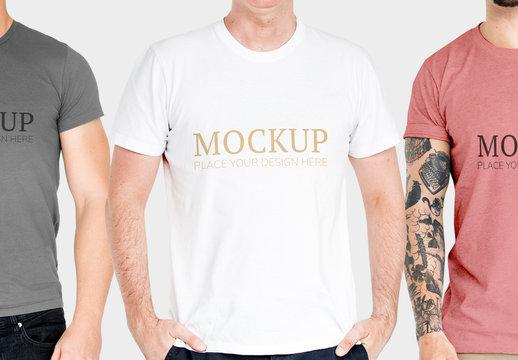 Three People in T-Shirts Mockup
