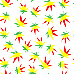 Seamless vector pattern. Many bright, multi-colored cannabis leaves.