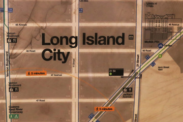 The Long Island City name is seen on a subway map in the Long Island City section of the Queens borough of New York
