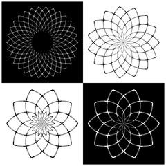 Design elements set. Circle geometric patterns.