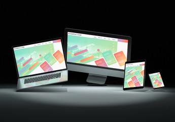 4 Devices Floating in Dark Mockup