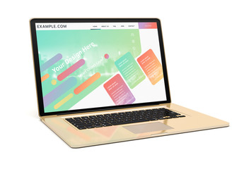 Gold Laptop on White Mockup