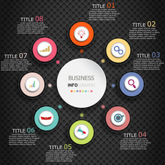 Infographics vector design and marketing icons can be used for workflow layout, diagram, annual report, web design.