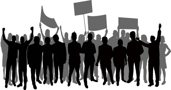 group of people protesting, silhouette vector