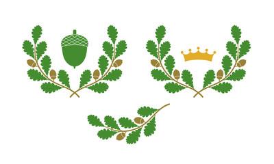 Oak Leaf, Oak, Oak tree, Vector, Logo, Icon, Stylized, Image, Woods, Landscape, Park, Oniferous tree, Deciduous tree, Forest, Tracing, Tree shape, Abstract Oak, Acorn, Old, Leaf, Branch, Wreath, Sign, Wall mural