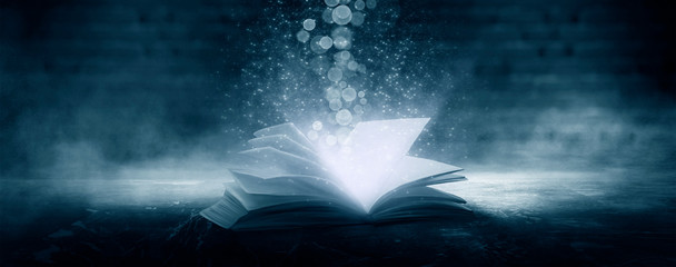 Fotomurales - The book is open, magical glow, rays of light.
