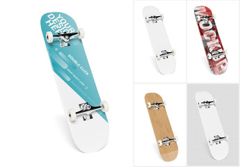 Skateboard Isolated on White Mockup