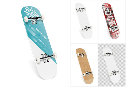 Skateboard Isolated on White Mockup