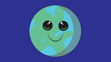 Earth planet vector design. Smiling planets of the Solar System. Planets with faces funny characters.