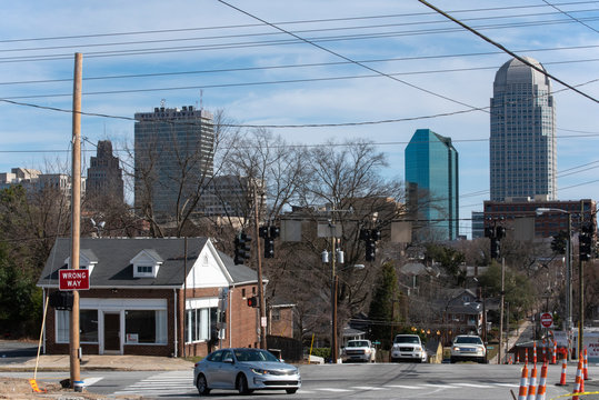 Looking towards a cluster of office towers in downtown Winston Salem, NC