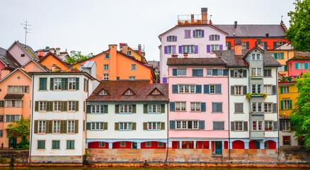 Fototapete - Beautiful river Limmat and city center of Zurich, Switzerland