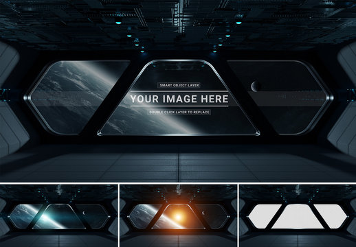 Dark Spaceship Window Mockup