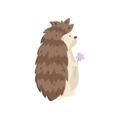 Glorious hedgehog stands and looks into the distance, holding beautiful flower. Side view on white background