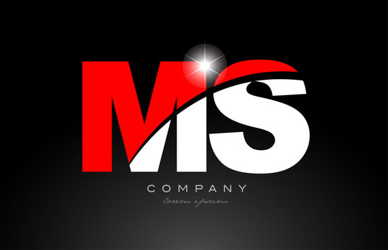 red white color letter combination ms m s alphabet for logo icon design