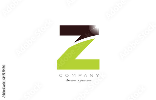 letter z alphabet in green and brown color for logo icon