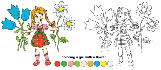 coloring book girl with flower