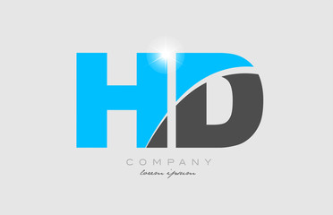 combination letter hd h d in grey blue color alphabet for logo icon design