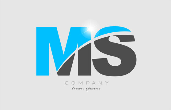 combination letter ms m s in grey blue color alphabet for logo icon design