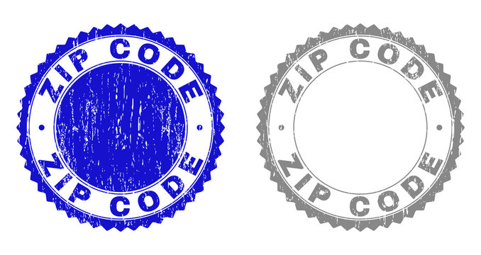 Grunge ZIP CODE stamp seals isolated on a white background. Rosette seals with distress texture in blue and gray colors. Vector rubber stamp imprint of ZIP CODE label inside round rosette.