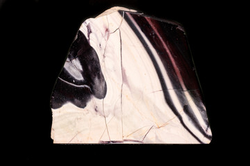 Macro mineral stone Agate on a black background