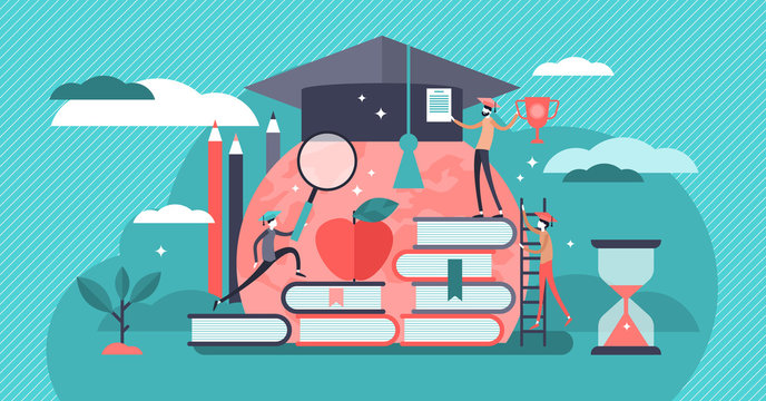 Education vector illustration. Flat tiny knowledge learning person concept.