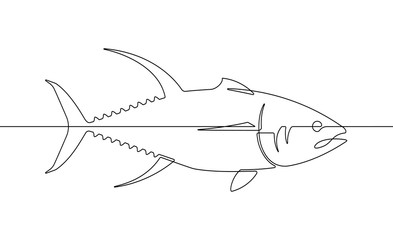 Foto op Plexiglas One Line Art Yellowfin Tuna Fish Continuous Line Vector Graphic