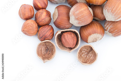 Nuts Hazelnuts Isolated On White Background Stock Photo And