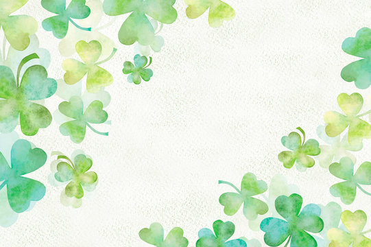 Art green clover watercolor background