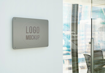 Metal Sign on Wall Mockup