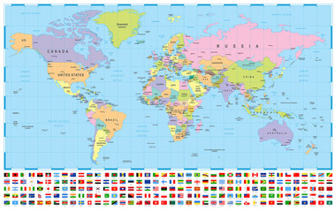 World Map and Flags - borders, countries and cities -illustration