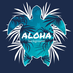 Aloha typography with turtle illustration. Turtle in tattoo style. Isolated vector illustration. Ideal for coloring page, shirt design effect, logo, tattoo and decoration