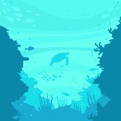 sea turtles in the ocean vector illustration