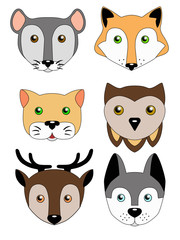 A set of cute animal muzzles. Children's illustration - funny animals. Mouse, Dog, Cat, Deer, Owl, Fox. Vector images with muzzles.