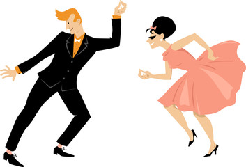 Wall Mural - Young couple dressed in 1960s fashion dancing retro style, EPS 8 vector illustration