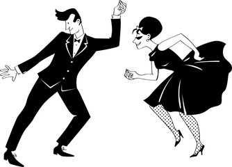 Fototapete - Young couple dressed in 1960s fashion dancing retro style, EPS 8 vector, no white objects