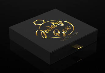 Closed Black Jewelry Box Mockup