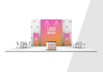 Kiosk with Banners and Background Mockup