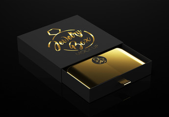 Open Black Jewelry Box Mockup