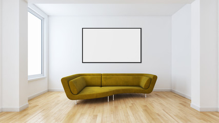 large luxury modern bright interiors with mock up poster frame illustration 3D rendering