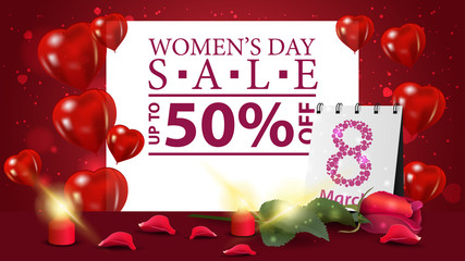 Horizontal red discount banner to the women's day with rose and calendar