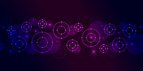 Magenta blue circles shapes on dark background.