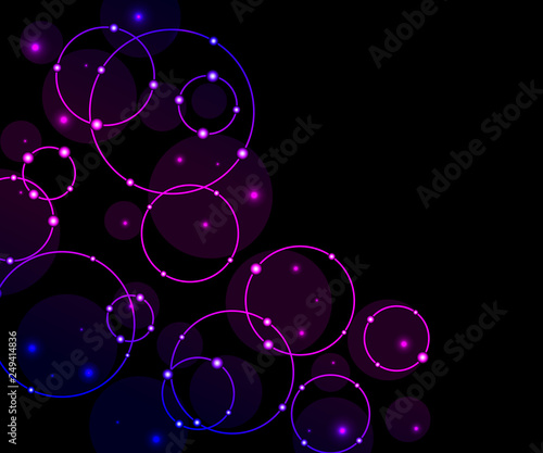 Neon Circles On A Dark Background Abstract Futuristic