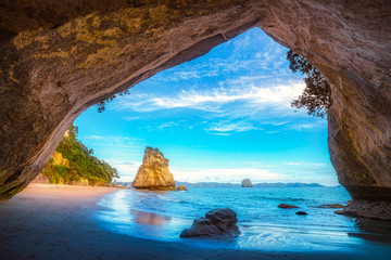 view from the cave at cathedral cove,coromandel,new zealand 42