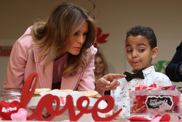 U.S. first lady Melania Trump makes Valentine's Day visit at the Children's Inn at the National Institutes of Health (NIH) in Bethesda, Maryland