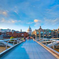 View of St Paul's Cathedral with the Millenium Bridge in London, UK