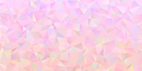 Rose Quartz Crystal Gem Vector Texture. Iridescent Pink Low Poly Irregular Triangle Pattern Background. Shiny Pinkish Mother-of-pearl Opalescent Sparkling Facets.